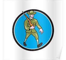 World War One Soldier British Marching Circle Cartoon Poster