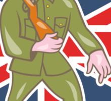 World War One Soldier British Marching Cartoon Shield Sticker