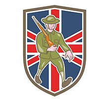 World War One Soldier British Marching Cartoon Shield by patrimonio