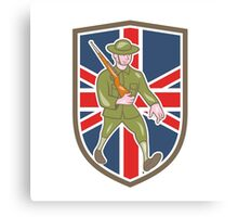 World War One Soldier British Marching Cartoon Shield Canvas Print