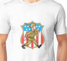 World War Two Soldier American Cartoon Shield Unisex T-Shirt