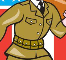 World War Two Soldier American Cartoon Shield Sticker