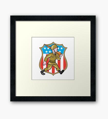 World War Two Soldier American Cartoon Shield Framed Print