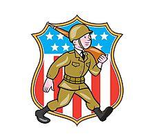 World War Two Soldier American Cartoon Shield Photographic Print
