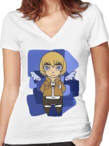 Armin Arlert Angel Women's Fitted V-Neck T-Shirt