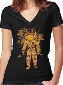 Vintage Spaceman Women's Fitted V-Neck T-Shirt
