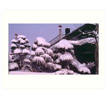 Domestic deep snow, Sapporo, Hokkaido, Japan. Art Print