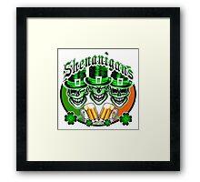 Laughing Irish Leprechaun Skulls: Shenanigans Framed Print