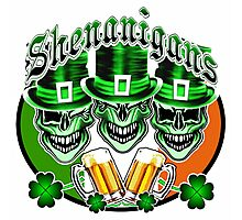 Laughing Irish Leprechaun Skulls: Shenanigans Photographic Print