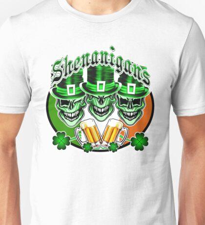 Laughing Irish Leprechaun Skulls: Shenanigans Unisex T-Shirt