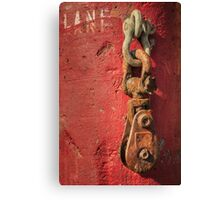 Rusty Chain On A Concrete Post Canvas Print