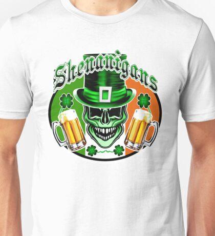 Funny Irish Leprechaun Skull Unisex T-Shirt