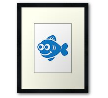 Blue comic fish  Framed Print