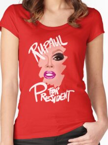 RuPaul for President- White Text Women's Fitted Scoop T-Shirt