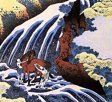 'Waterfall and Horse Washing' by Katsushika Hokusai (Reproduction) by Roz Abellera Art Gallery