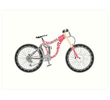 Typographical Anatomy of a Down Hill Bike Art Print