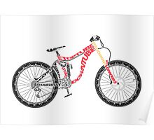 Typographical Anatomy of a Down Hill Bike Poster
