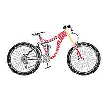 Typographical Anatomy of a Down Hill Bike Photographic Print
