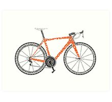 Typographic Anatomy of a Road Bike Art Print