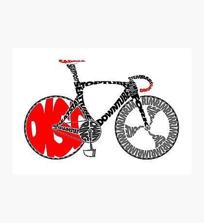Typographic Anatomy of a Track Bike Photographic Print