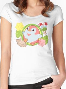 Pink Kawaii Penguin and Wagashi Women's Fitted Scoop T-Shirt