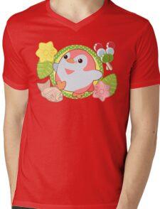 Pink Kawaii Penguin and Wagashi Mens V-Neck T-Shirt