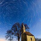 Saint Heleina Chapel with star trail, Teskand, Hungary by Gabor Pozsgai