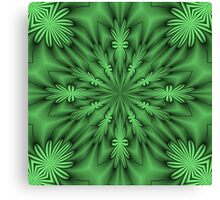 Green Abstract Flowers Canvas Print