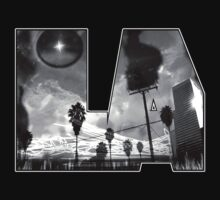 """L.A. is Burning"" by Dusty Vinyl Design - Black and White version by dustyvinylstore"