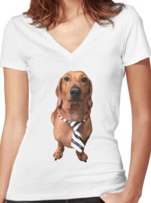 Dachshund Sausage Dog wearing tie Women's Fitted V-Neck T-Shirt