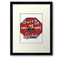 Quick Stop Hockey Framed Print