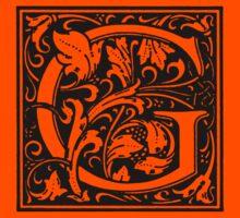 William Morris Renaissance Style Cloister Alphabet Letter G by Pixelchicken