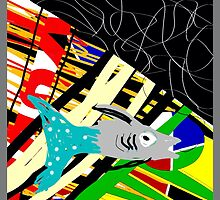 Fish on a line, MODERN ART, ABSTRACT, multicolor by ackelly4