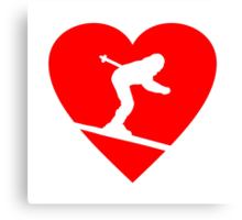 I love Skiing Heart Canvas Print