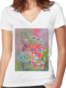 Mad World Women's Fitted V-Neck T-Shirt