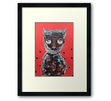 Cat With Big Red Eyes Framed Print
