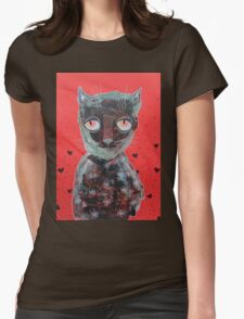 Cat With Big Red Eyes Womens Fitted T-Shirt