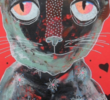Cat With Big Red Eyes Sticker