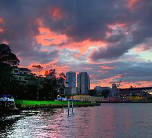 Fire In The Sky - Moods Of A City #34 - The HDR Series Sydney Australia by Philip Johnson