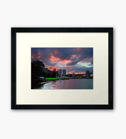 Fire In The Sky - Moods Of A City #34 - The HDR Series Sydney Australia Framed Print