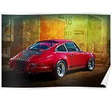 Red Porsche 911 Rear Poster