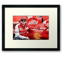 Kimi Raikkonen Ferrari F1 Driver Framed Print