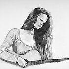 Self portrait with guitar by Nori Bucci