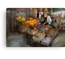 Storefront - Hoboken, NJ - Picking out fresh fruit Canvas Print