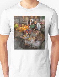 Storefront - Hoboken, NJ - Picking out fresh fruit Unisex T-Shirt