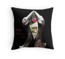 Kissing Birds With Rose (Valentines) Throw Pillow