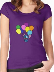Stitch with balloons Women's Fitted Scoop T-Shirt
