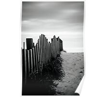 Black & White fence beach Poster