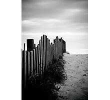 Black & White fence beach Photographic Print