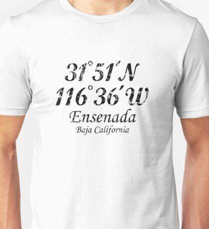 Ensenada Coordinates Vintage Black Unisex T-Shirt